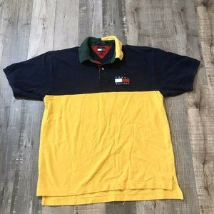 Vintage 90s Tommy Hilfiger Polo Blue Yellow Sz L